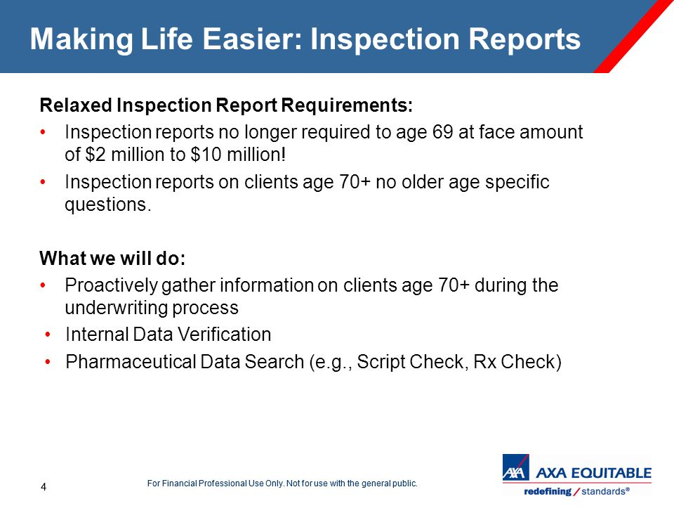 4 For Financial Professional Use Only. Not for use with the general public. 4 Making Life Easier: Inspection Reports Relaxed Inspection Report Require
