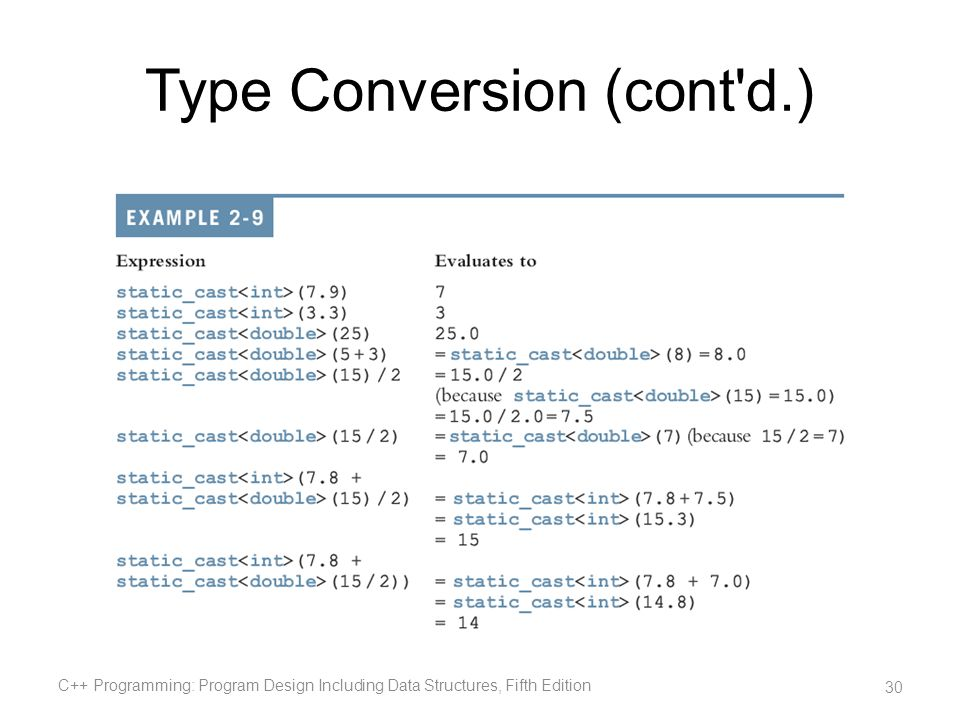 Type Conversion (cont'd.) C++ Programming: Program Design Including Data Structures, Fifth Edition 30