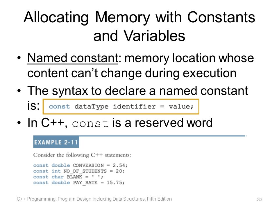 Allocating Memory with Constants and Variables Named constant: memory location whose content cant change during execution The syntax to declare a name