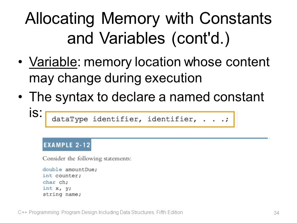 Allocating Memory with Constants and Variables (cont'd.) Variable: memory location whose content may change during execution The syntax to declare a n