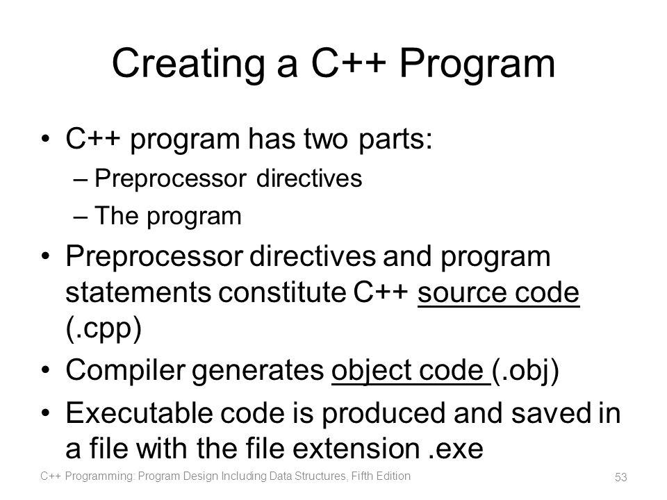 Creating a C++ Program C++ program has two parts: –Preprocessor directives –The program Preprocessor directives and program statements constitute C++