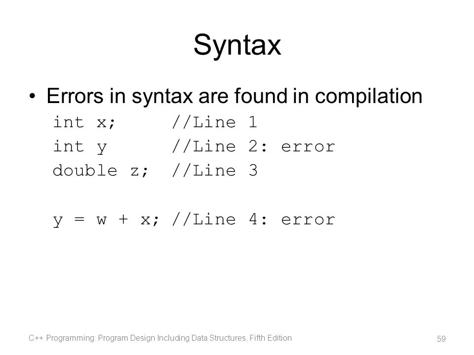 Syntax Errors in syntax are found in compilation int x;//Line 1 int y//Line 2: error double z;//Line 3 y = w + x;//Line 4: error C++ Programming: Prog