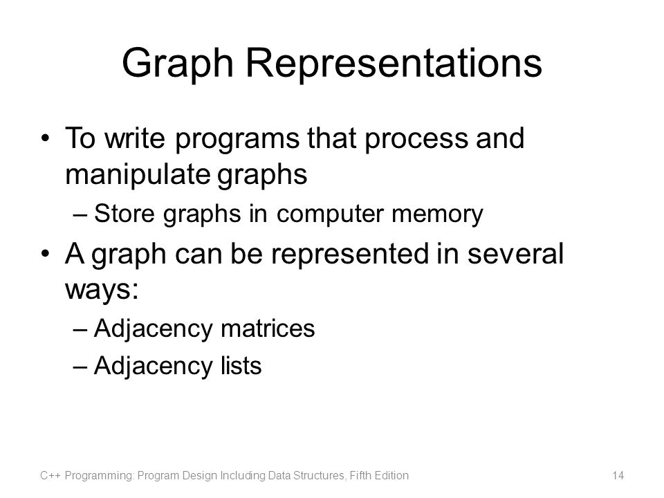 Graph Representations To write programs that process and manipulate graphs –Store graphs in computer memory A graph can be represented in several ways