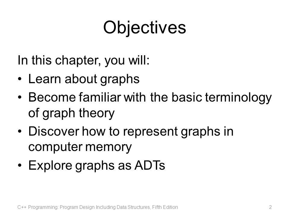 C++ Programming: Program Design Including Data Structures, Fifth Edition23C++ Programming: Program Design Including Data Structures, Fifth Edition Graphs as ADTs (contd.)