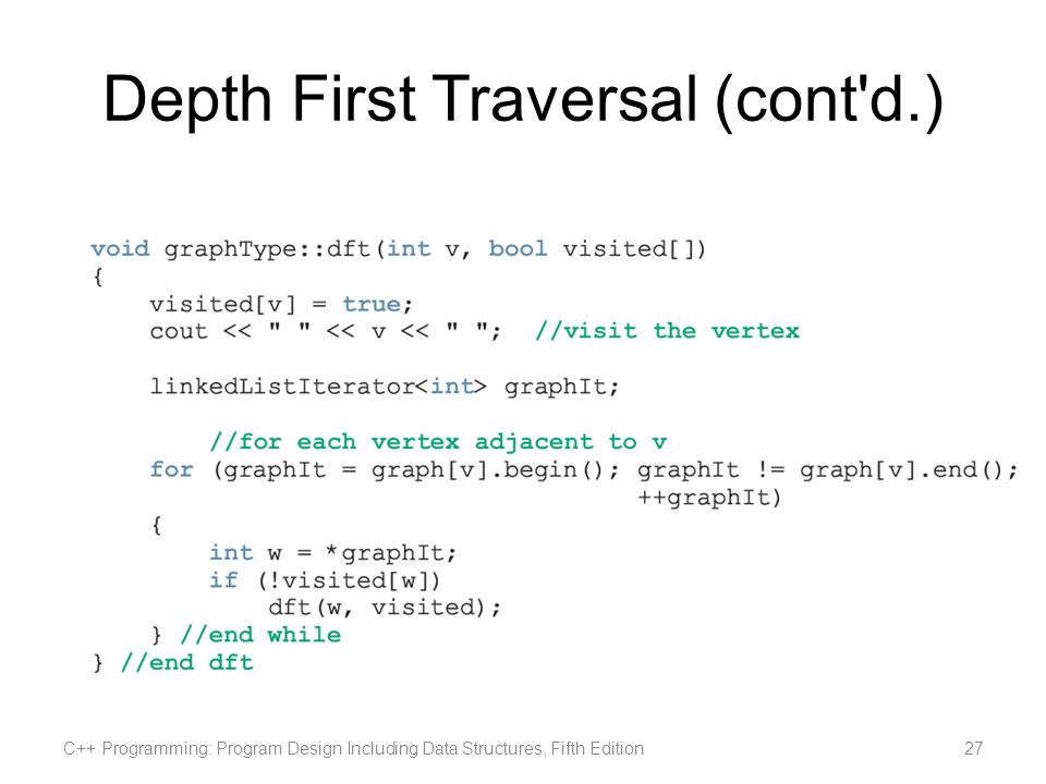 Depth First Traversal (cont'd.) C++ Programming: Program Design Including Data Structures, Fifth Edition27