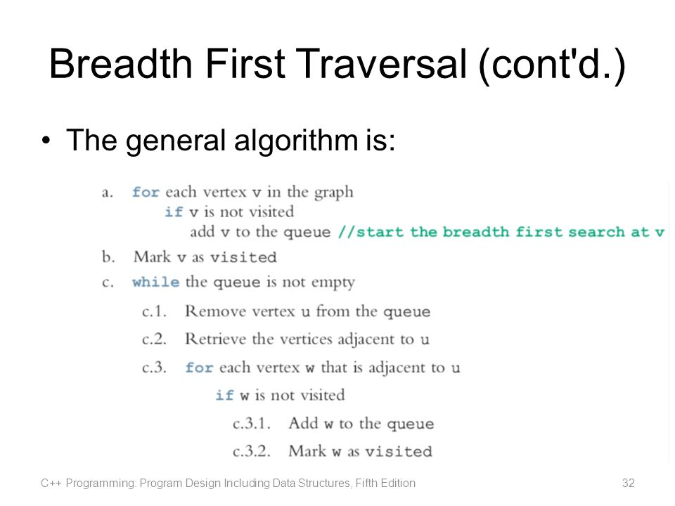 Breadth First Traversal (cont'd.) The general algorithm is: C++ Programming: Program Design Including Data Structures, Fifth Edition32