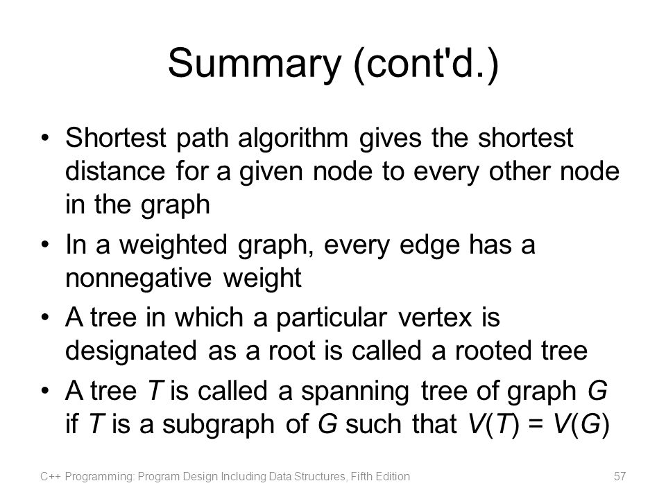 Summary (cont'd.) Shortest path algorithm gives the shortest distance for a given node to every other node in the graph In a weighted graph, every edg