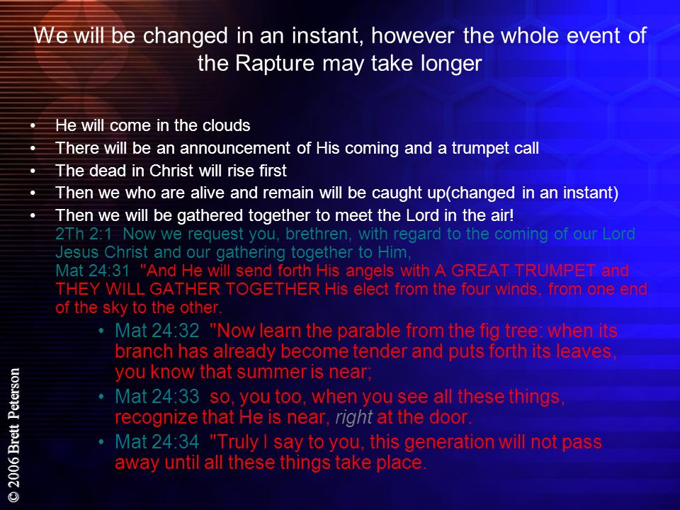© 2006 Brett Peterson Joh 14:1 Do not let your heart be troubled; believe in God, believe also in Me.
