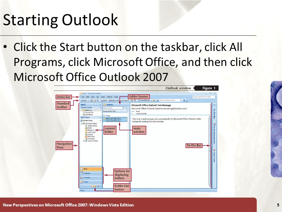 XP Starting Outlook Click the Start button on the taskbar, click All Programs, click Microsoft Office, and then click Microsoft Office Outlook 2007 New Perspectives on Microsoft Office 2007: Windows Vista Edition5