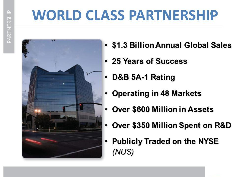 WORLD CLASS PARTNERSHIP $1.3 Billion Annual Global Sales$1.3 Billion Annual Global Sales 25 Years of Success25 Years of Success D&B 5A-1 RatingD&B 5A-