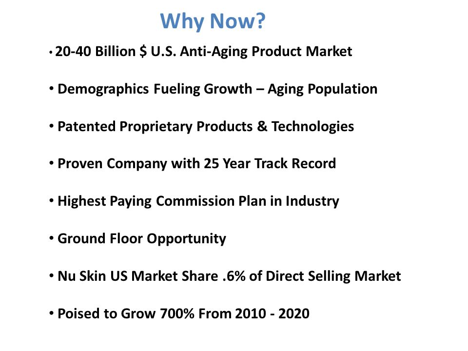 Why Now? 20-40 Billion $ U.S. Anti-Aging Product Market Demographics Fueling Growth – Aging Population Patented Proprietary Products & Technologies Pr