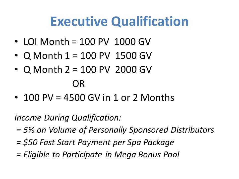 Executive Qualification LOI Month = 100 PV 1000 GV Q Month 1 = 100 PV 1500 GV Q Month 2 = 100 PV 2000 GV OR 100 PV = 4500 GV in 1 or 2 Months Income D