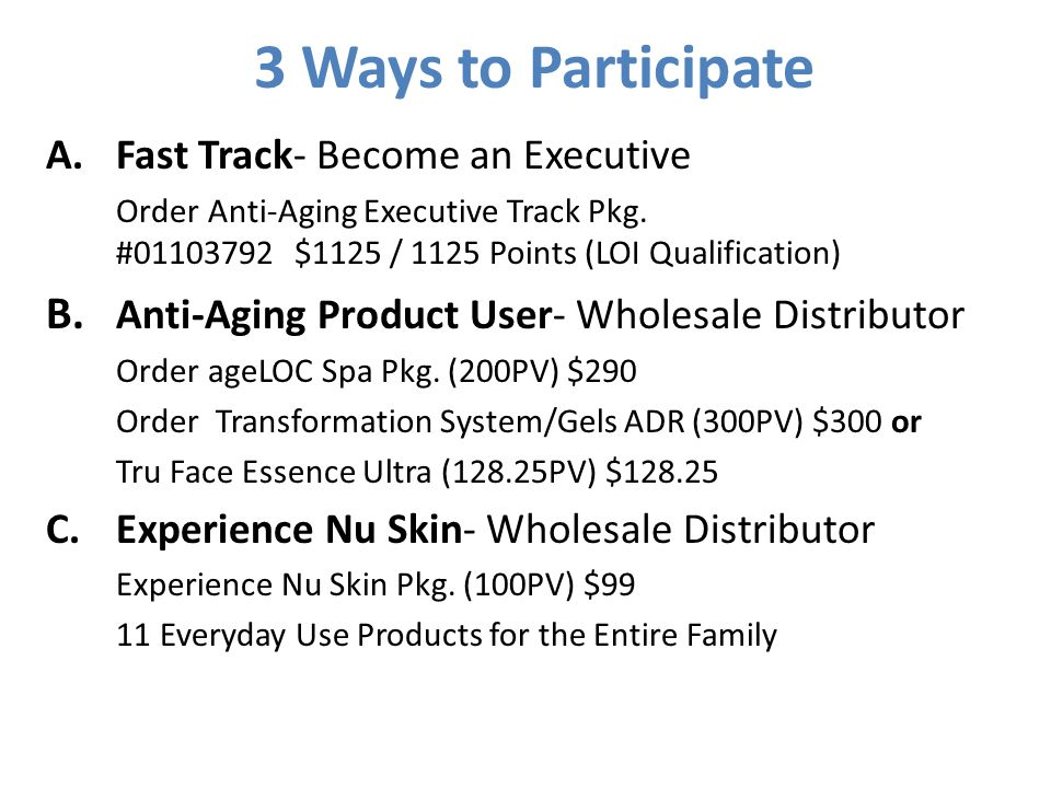 3 Ways to Participate A.Fast Track- Become an Executive Order Anti-Aging Executive Track Pkg. #01103792 $1125 / 1125 Points (LOI Qualification) B. Ant