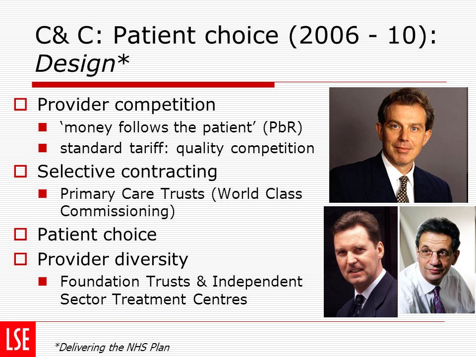 C& C: Patient choice (2006 - 10): Design* Provider competition money follows the patient (PbR) standard tariff: quality competition Selective contract