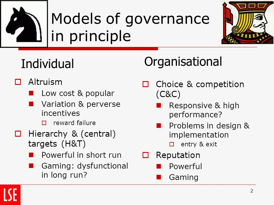 2 Models of governance in principle Altruism Low cost & popular Variation & perverse incentives reward failure Hierarchy & (central) targets (H&T) Powerful in short run Gaming: dysfunctional in long run.