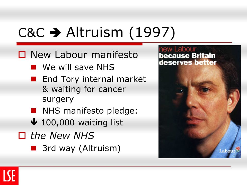C&C Altruism (1997) New Labour manifesto We will save NHS End Tory internal market & waiting for cancer surgery NHS manifesto pledge: 100,000 waiting list the New NHS 3rd way (Altruism)