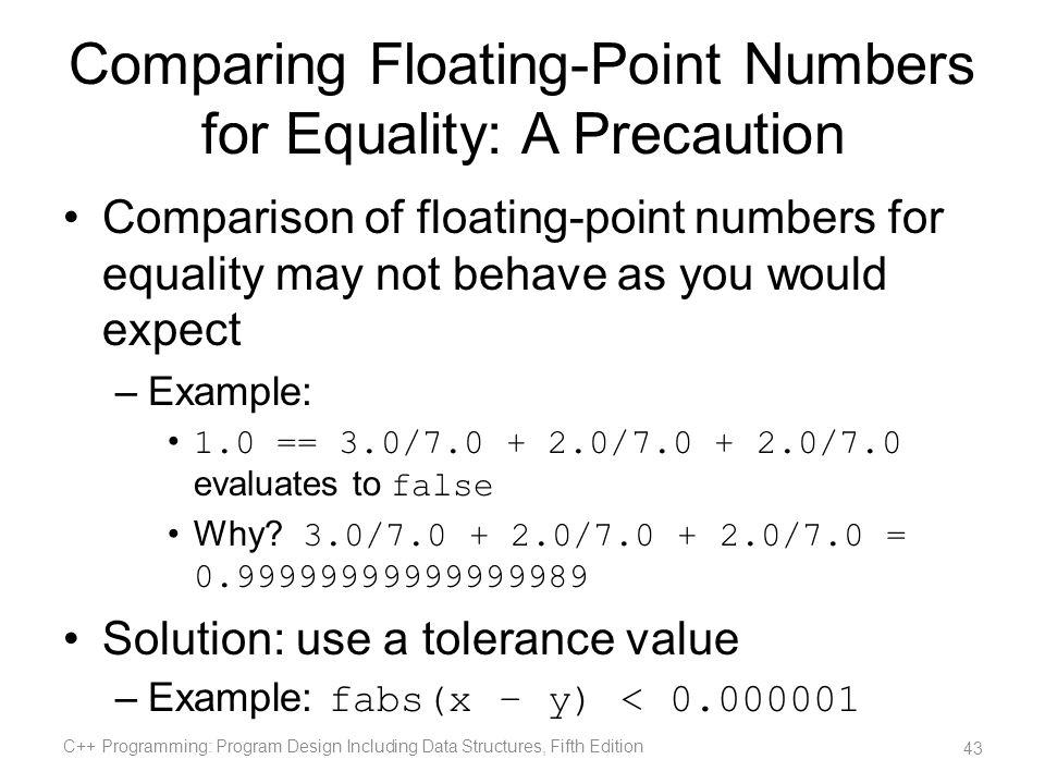 Comparing Floating-Point Numbers for Equality: A Precaution Comparison of floating-point numbers for equality may not behave as you would expect –Exam