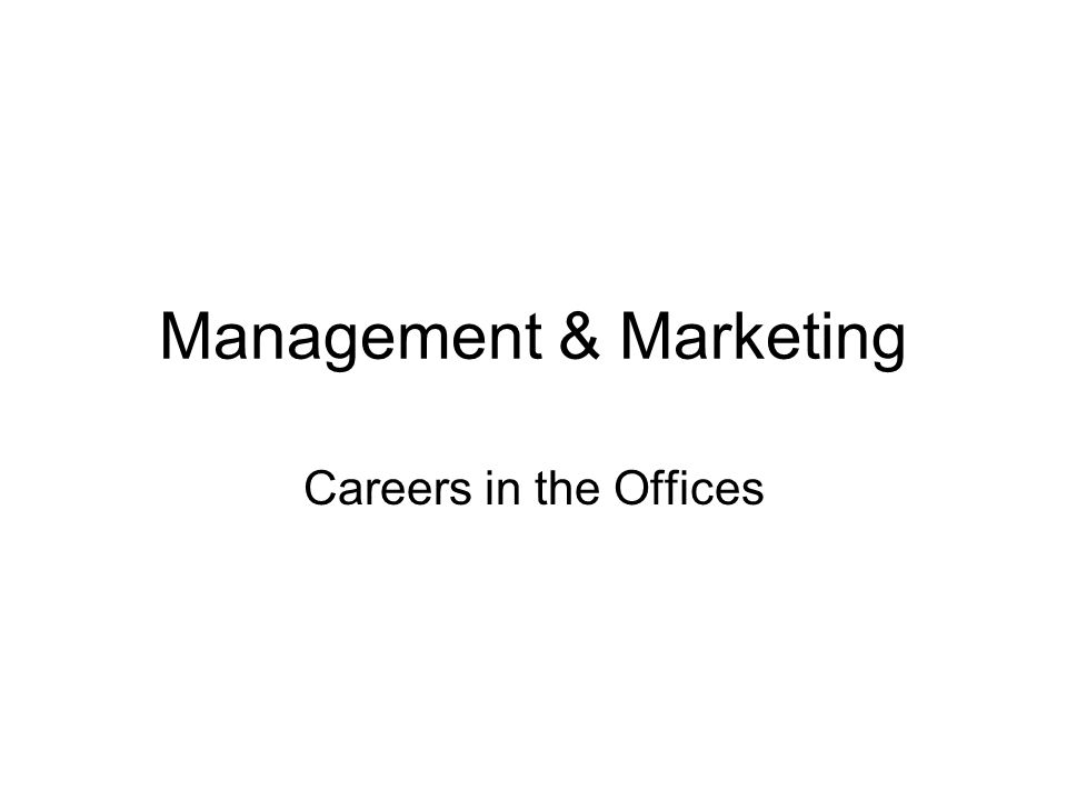 Management & Marketing Careers in the Offices