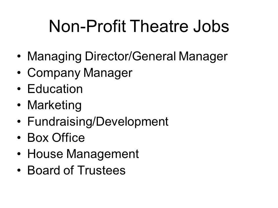 For Profit Theatre Goal is to make money Does not preclude artistic integrity Sometimes non-profits and for profits work together.