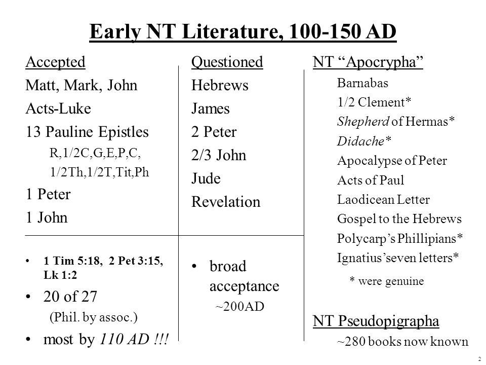 2 Early NT Literature, 100-150 AD Accepted Matt, Mark, John Acts-Luke 13 Pauline Epistles R,1/2C,G,E,P,C, 1/2Th,1/2T,Tit,Ph 1 Peter 1 John 1 Tim 5:18,