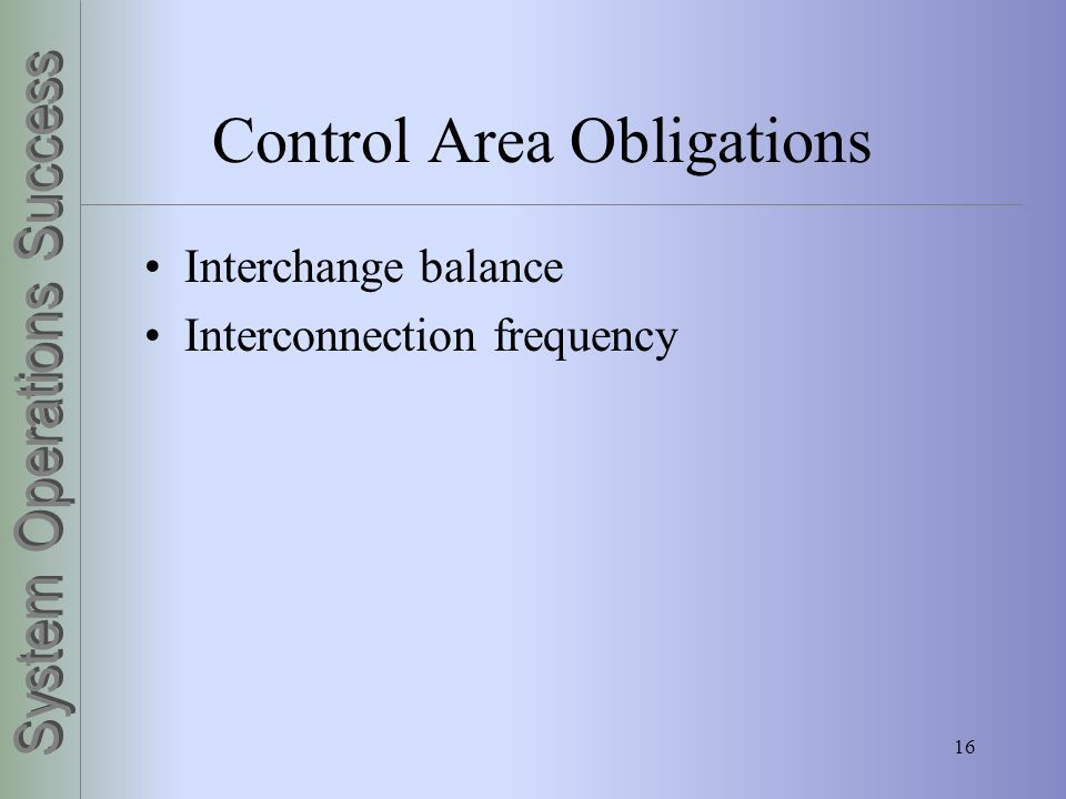 16 Control Area Obligations Interchange balance Interconnection frequency