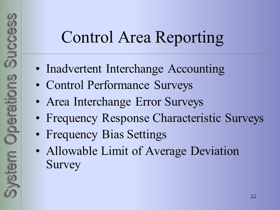 22 Control Area Reporting Inadvertent Interchange Accounting Control Performance Surveys Area Interchange Error Surveys Frequency Response Characteris