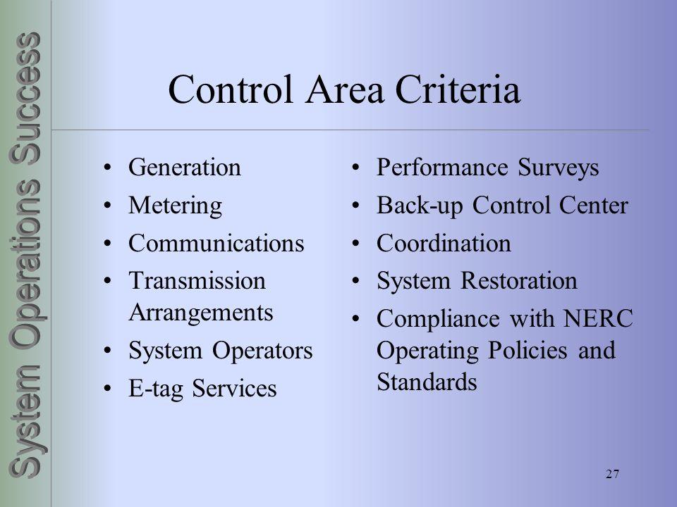 27 Control Area Criteria Generation Metering Communications Transmission Arrangements System Operators E-tag Services Performance Surveys Back-up Cont