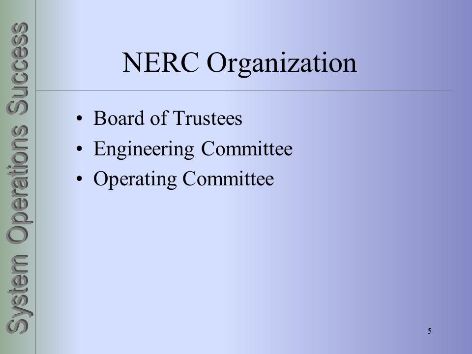 5 NERC Organization Board of Trustees Engineering Committee Operating Committee