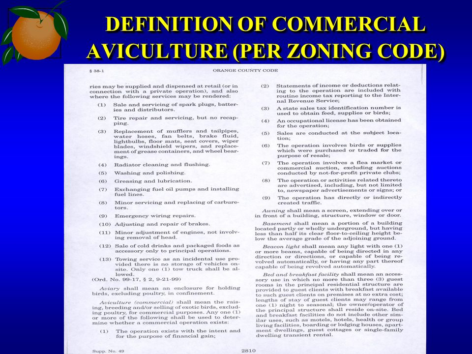 DEFINITION OF COMMERCIAL AVICULTURE (PER ZONING CODE)