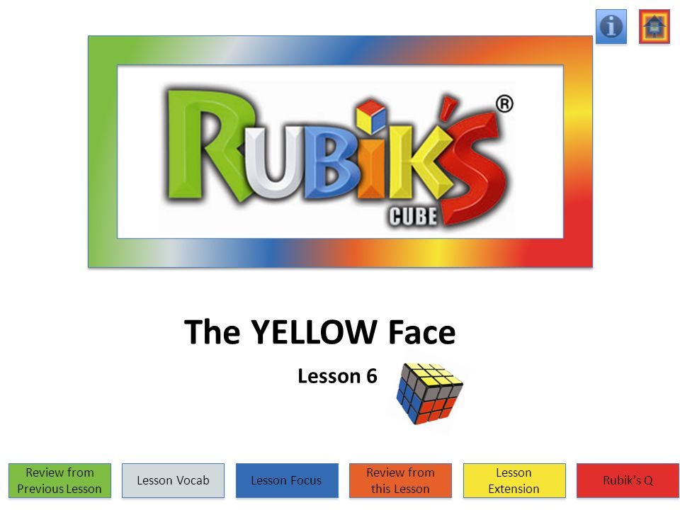 The YELLOW Face Lesson 6 Review from Previous Lesson Review from Previous Lesson Lesson Vocab Lesson Focus Review from this Lesson Review from this Le