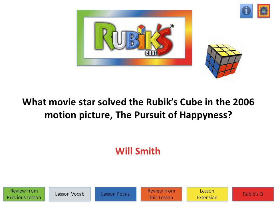 What movie star solved the Rubiks Cube in the 2006 motion picture, The Pursuit of Happyness? Will Smith Review from Previous Lesson Review from Previo