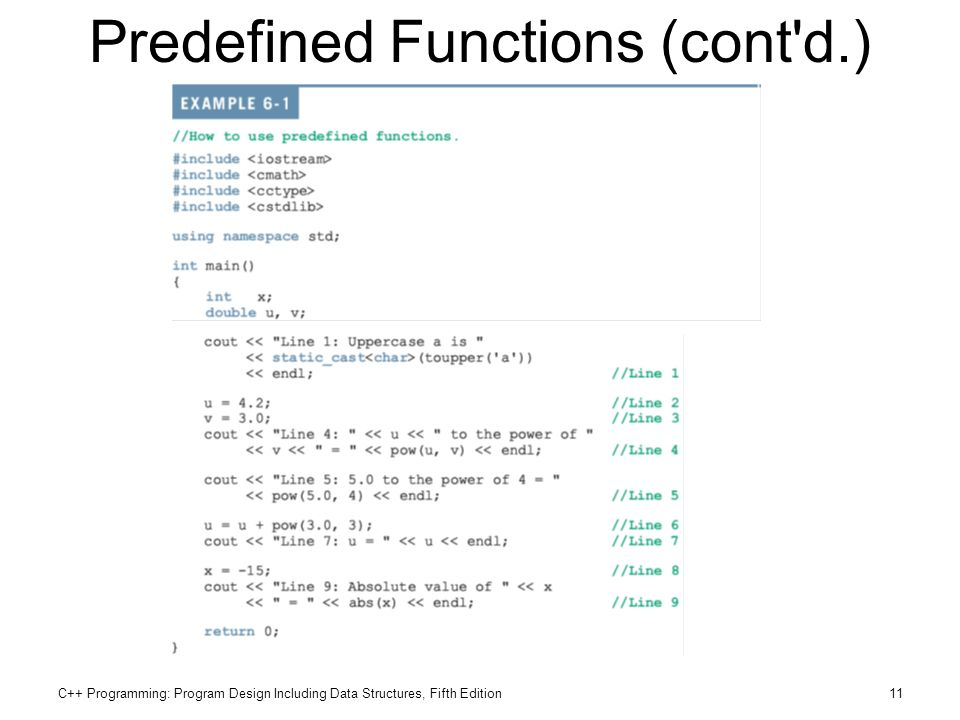 C++ Programming: Program Design Including Data Structures, Fifth Edition11 Predefined Functions (cont'd.)