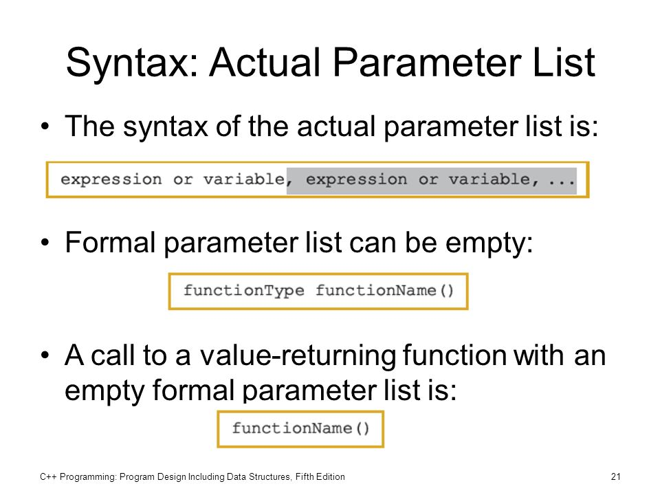 C++ Programming: Program Design Including Data Structures, Fifth Edition21 Syntax: Actual Parameter List The syntax of the actual parameter list is: F