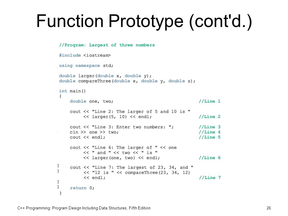 C++ Programming: Program Design Including Data Structures, Fifth Edition26 Function Prototype (cont'd.)