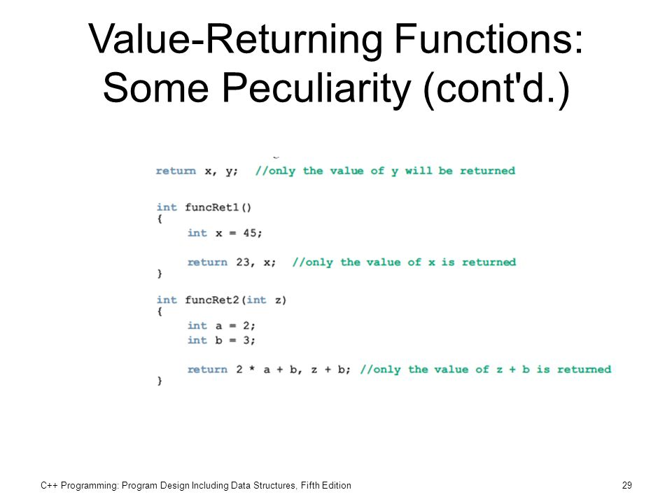 C++ Programming: Program Design Including Data Structures, Fifth Edition29 Value-Returning Functions: Some Peculiarity (cont'd.)