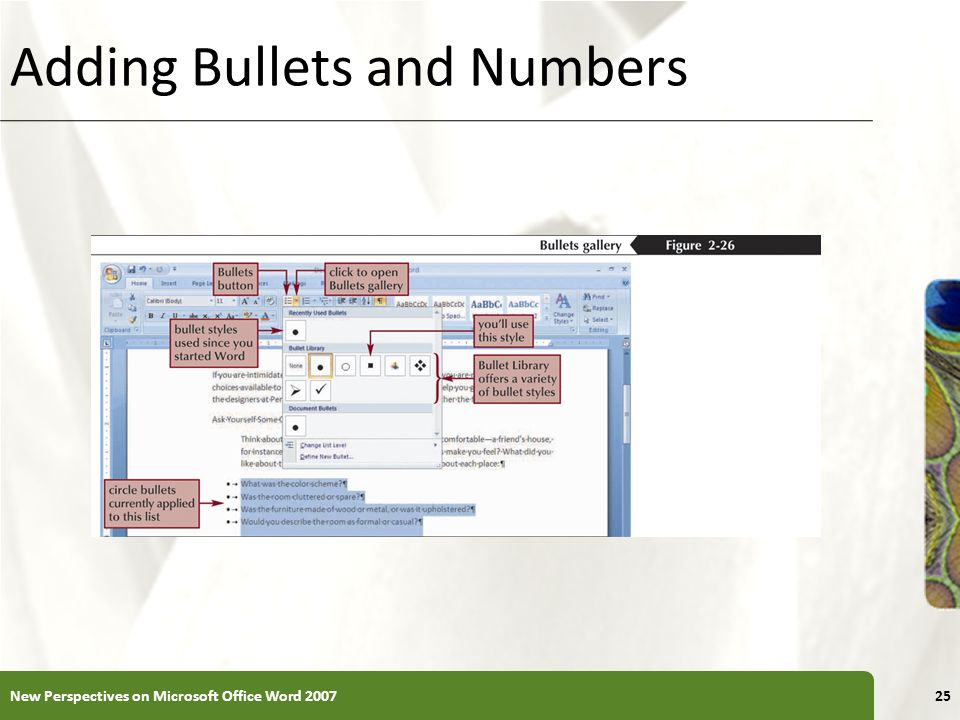 XP Adding Bullets and Numbers New Perspectives on Microsoft Office Word 200725