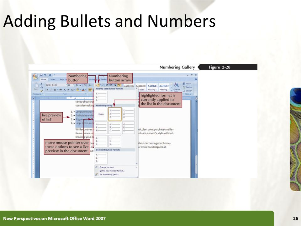 XP Adding Bullets and Numbers New Perspectives on Microsoft Office Word 200726