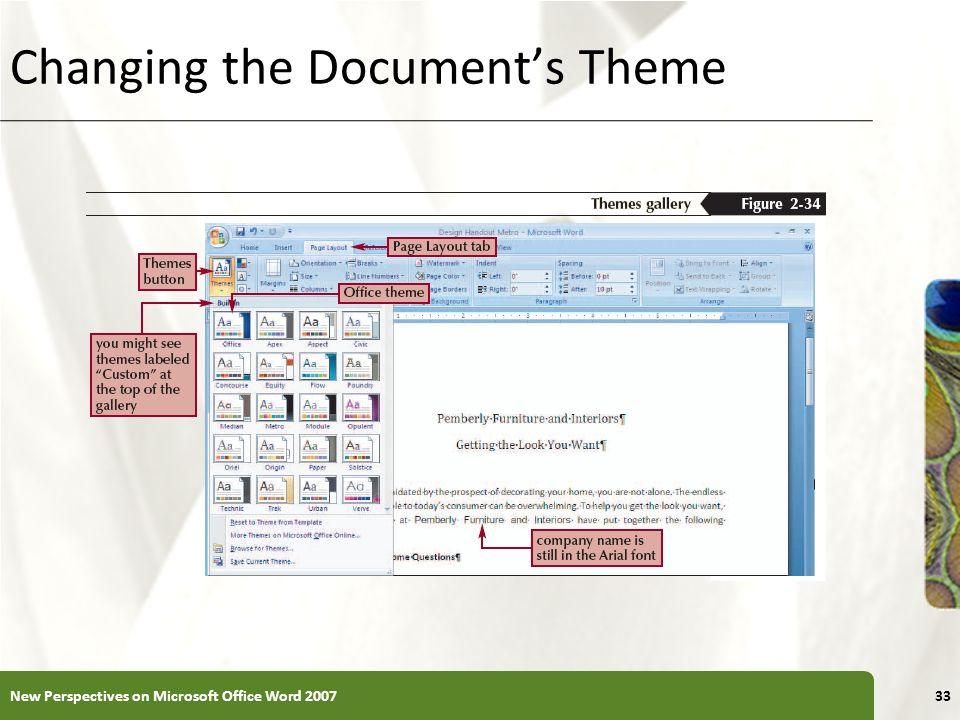 XP Changing the Documents Theme New Perspectives on Microsoft Office Word 200733