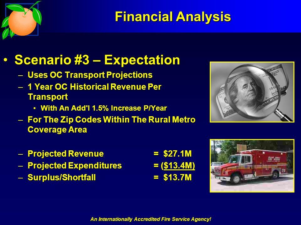 An Internationally Accredited Fire Service Agency! Financial Analysis Scenario #3 – ExpectationScenario #3 – Expectation –Uses OC Transport Projection