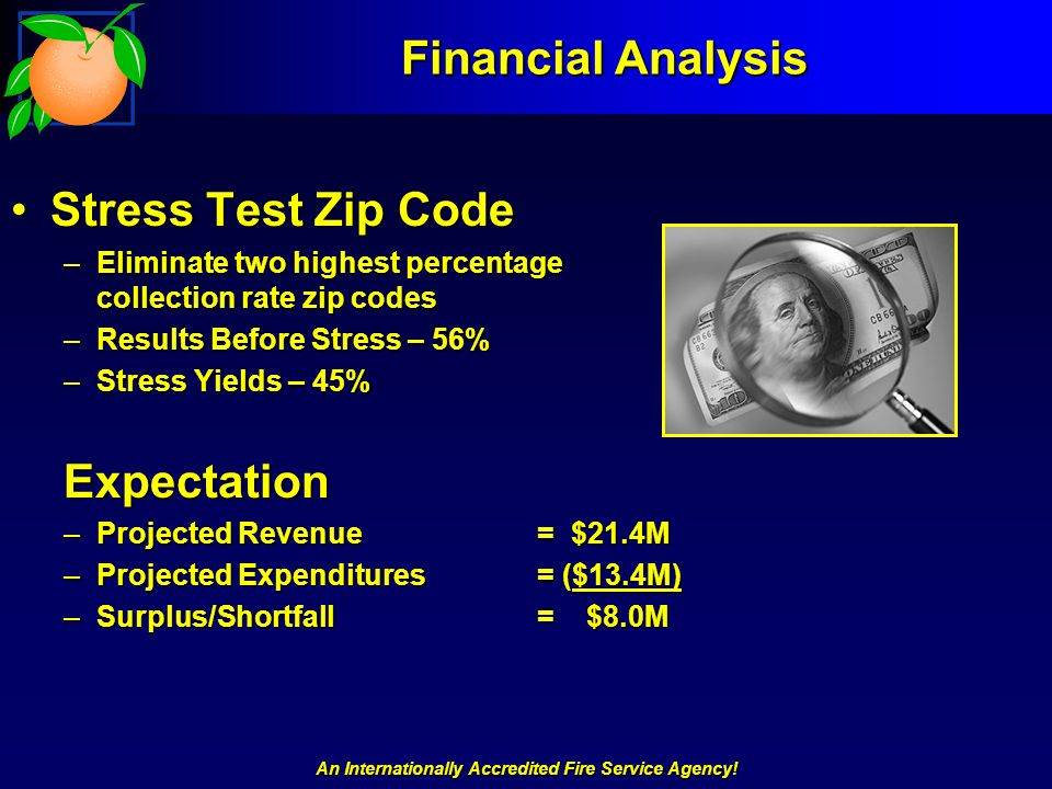 An Internationally Accredited Fire Service Agency! Financial Analysis Stress Test Zip CodeStress Test Zip Code –Eliminate two highest percentage colle