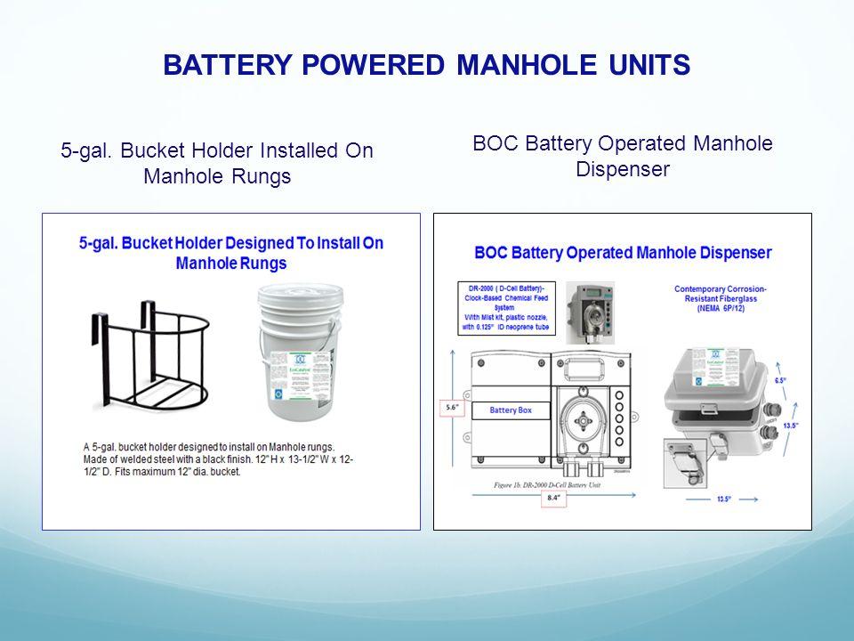 BATTERY POWERED MANHOLE UNITS 5-gal. Bucket Holder Installed On Manhole Rungs BOC Battery Operated Manhole Dispenser