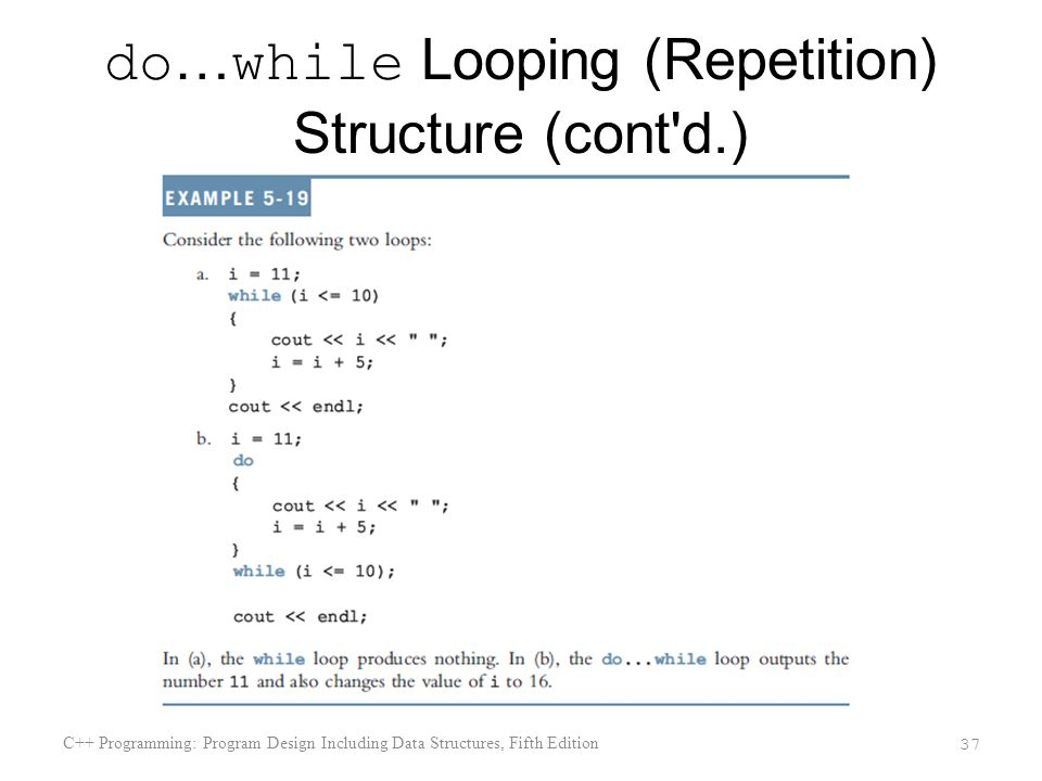 do … while Looping (Repetition) Structure (cont d.) C++ Programming: Program Design Including Data Structures, Fifth Edition 37
