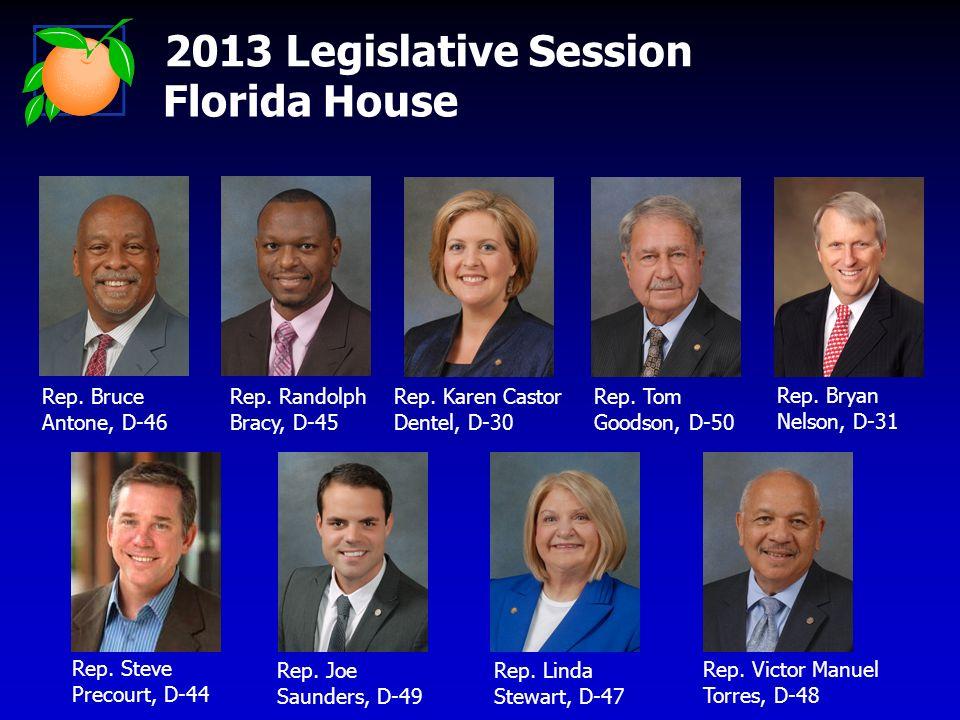 2013 Legislative Session Florida House Rep. Bruce Antone, D-46 Rep. Randolph Bracy, D-45 Rep. Karen Castor Dentel, D-30 Rep. Tom Goodson, D-50 Rep. Br