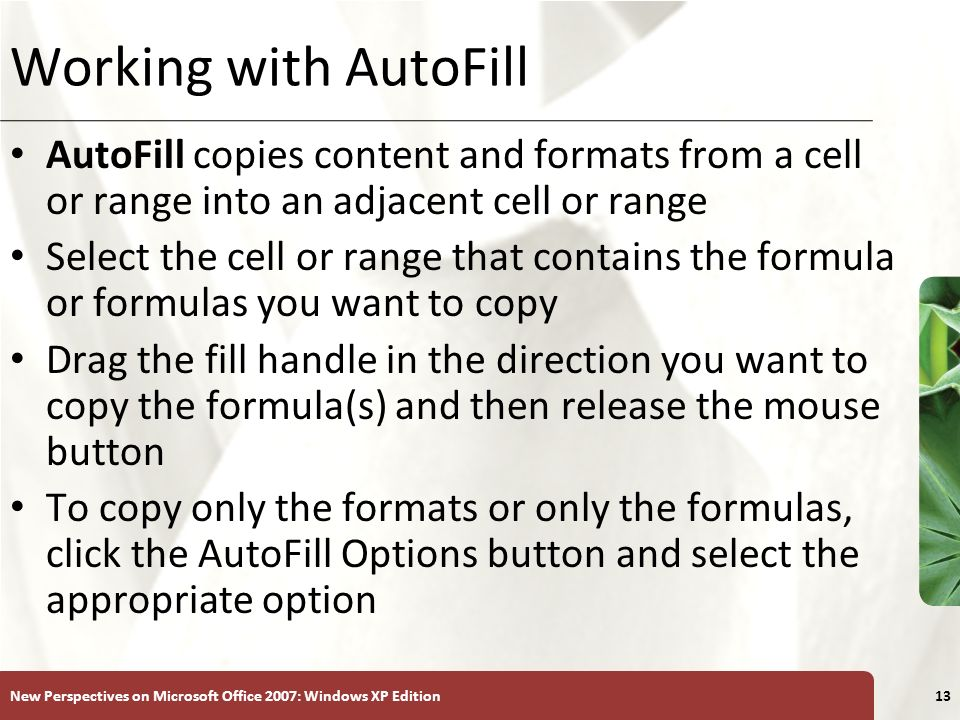 XP New Perspectives on Microsoft Office 2007: Windows XP Edition13 Working with AutoFill AutoFill copies content and formats from a cell or range into an adjacent cell or range Select the cell or range that contains the formula or formulas you want to copy Drag the fill handle in the direction you want to copy the formula(s) and then release the mouse button To copy only the formats or only the formulas, click the AutoFill Options button and select the appropriate option