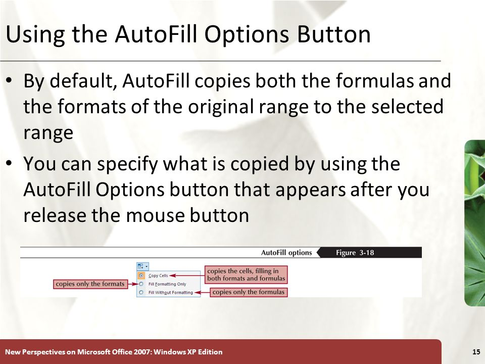 XP New Perspectives on Microsoft Office 2007: Windows XP Edition15 Using the AutoFill Options Button By default, AutoFill copies both the formulas and the formats of the original range to the selected range You can specify what is copied by using the AutoFill Options button that appears after you release the mouse button
