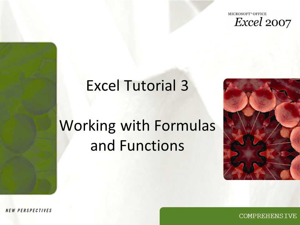 COMPREHENSIVE Excel Tutorial 3 Working with Formulas and Functions
