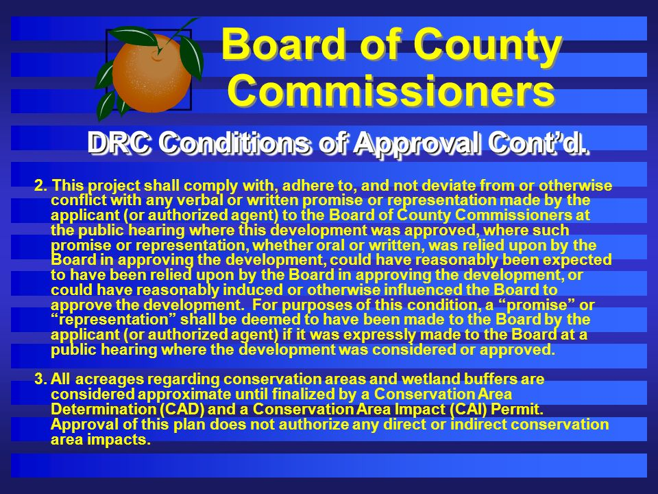Board of County Commissioners DRC Conditions of Approval Contd.