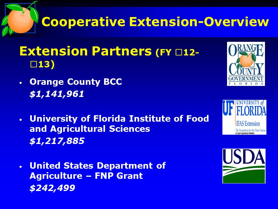 Extension Partners (FY ) Orange County BCC $1,141,961 University of Florida Institute of Food and Agricultural Sciences $1,217,885 United States Department of Agriculture – FNP Grant $242,499 Cooperative Extension-Overview