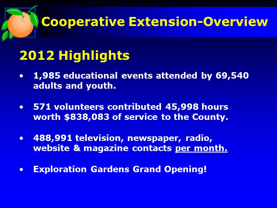 2012 Highlights 1,985 educational events attended by 69,540 adults and youth.