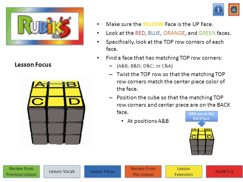 Lesson Focus Make sure the YELLOW Face is the UP Face. Look at the RED, BLUE, ORANGE, and GREEN faces. Specifically, look at the TOP row corners of ea